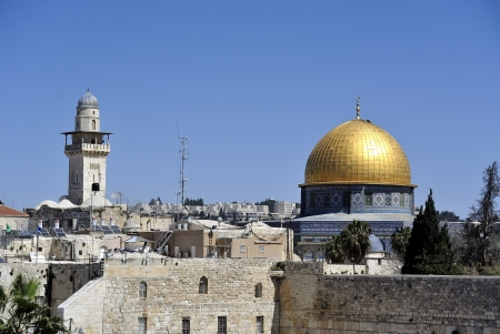 The wailing wall and Dome of the Rock mosque in Jerusalem