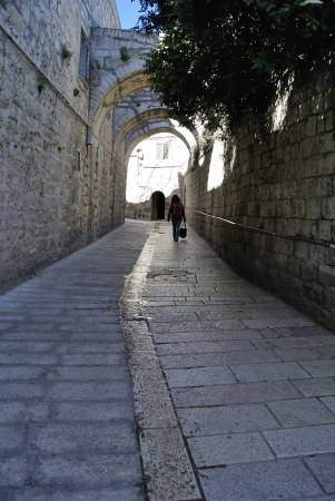 dolorosa: Ancient narrow street in Old City of Jerusalem, Israel  Stock Photo