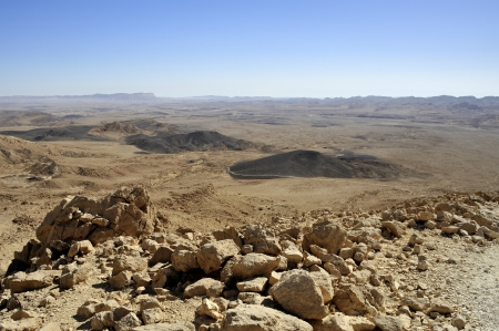Crater Ramon geological park in Negev desert, Israel