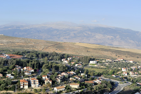 Mount Hermon and Metula lookout view near Lebanon border in Israel  photo