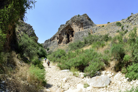 nahal: Hiking trail in Nahal Amud national park, Israel