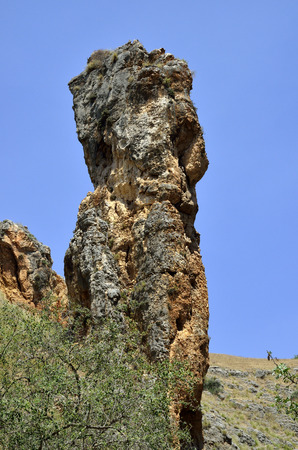 nahal: Rock pillar in Nahal Amud national park in Israel