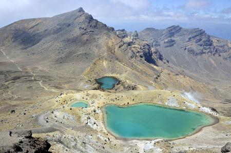 tongariro: View at beautiful Emerald lakes on Tongariro track,  New Zealand