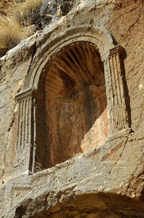 banias: Ancient ruins of Pan Temple in Banias National park, Israel