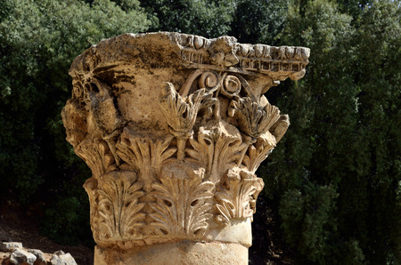 banias: Ancient Corinth capitel in Pan Temple, Banias National park in Israel.