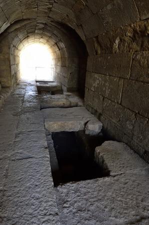 banias: Ancient underground passage in Agrippa palace, Banias National park, Israel.