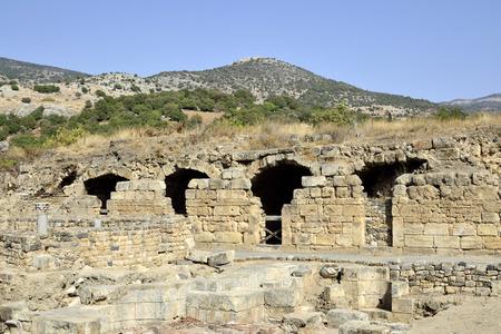 banias: Ruins of Agrippa palace in Banias National park, Israel. Editorial