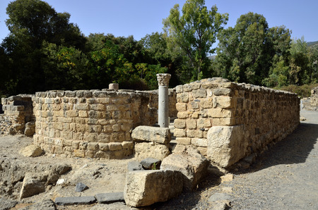 banias: Ancient synagogue remains on Agrippa palace territory in Banias National park, Israel.