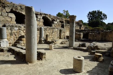 banias: Ancient remains of Agrippa palace in Banias National park, Israel. Editorial