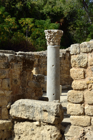 banias: Ancient remains of Agrippa palace in Banias National park, Israel. Stock Photo