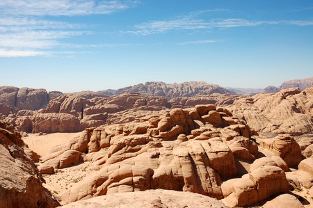Aerial landscape of Wadi Rum desert valley seen from mountains photo