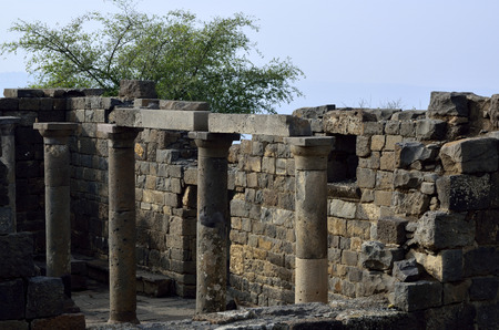 the golan heights: Archaeological site Mother of the Arches or Umm el Kanatir in Golan Heights, Israel Stock Photo
