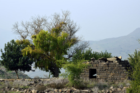 heights: Damaged house in Umm el Kanatir archeological site, Golan Heights.