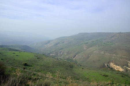the golan heights: Golan Heights winter hazy landscape, Israel. Stock Photo