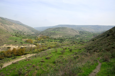 Winter hazy landscape on Golan Heights, Israel