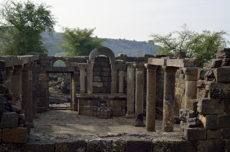 heights: Ancient synagogue Umm el Kanatir ruins, Golan Heights in Israel.