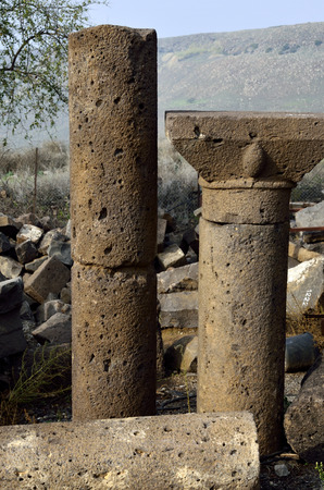 the golan heights: Antique columns of Mother of the Arches synagogue in Golan Heights, Israel Stock Photo