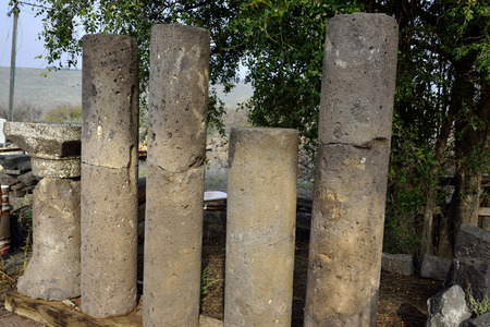 the golan heights: Antique columns of Umm el Kanatir synagogue in Golan Heights, Israel