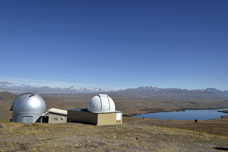 nz: Mount John University Observatory buildings near Tekapo lake, NZ