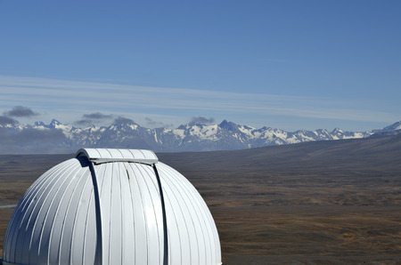 dome building: Dome of Mount John University Observatory building, New Zealand.