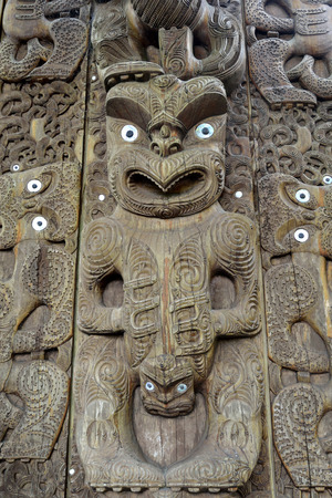 idol: Typical statue of carved Maori horror idol, New Zealand.