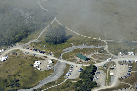 nz: Aerial view of tourist campground in Aoraki National park NZ. Stock Photo