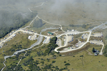 campground: Aerial view of tourist campground in Aoraki National park NZ. Stock Photo