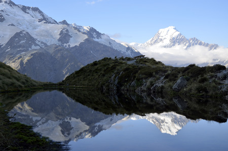 aoraki mount cook national park: Mount Cook evening reflection in Southern Alps New Zealand.