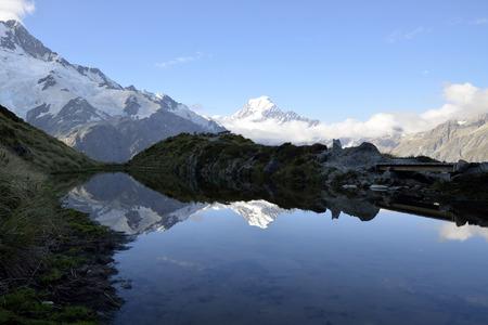 aoraki mount cook national park: Mount Cook evening reflection in Aoraki National park New Zealand.