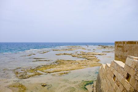akko: Mediterranean sea coast view from old Akko walls in Israel. Stock Photo