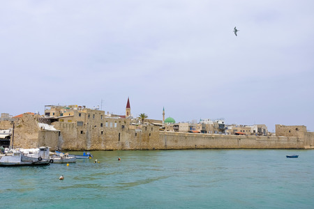 acre: Old Acre city walls view from the sea Israel.