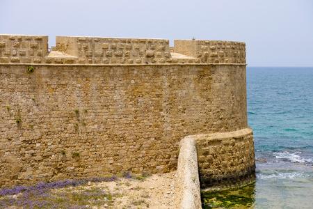tourist site: Tourist site of Akko sea bastion walls in Israel.