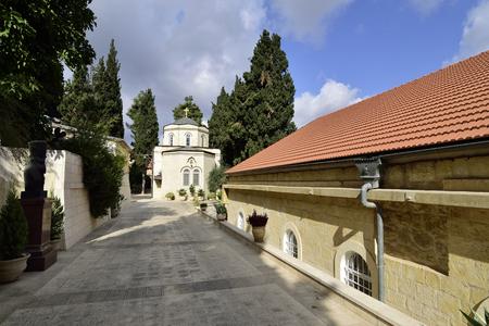 ein: Buildings of Gorny Russian Orthodox convent in Ein Kerem, near Jerusalem in Israel. Stock Photo