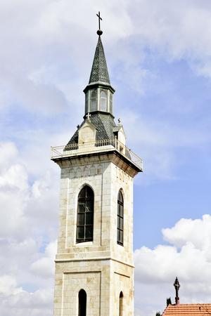ein: Steeple of the Visitation Church in Ein Kerem, Israel