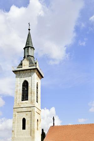 visitation: Steeple of the Visitation Church in Ein Kerem, Jerusalem, Israel Stock Photo