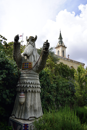 ein: Zacharys statue in Visitation Church, Ein Kerem near  Jerusalem, Israel