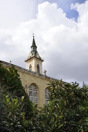 ein: Visitation Church facade fragment, Ein Kerem, Israel Stock Photo