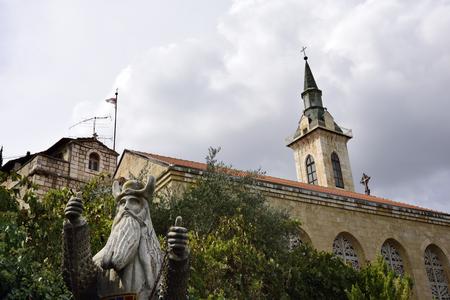 visitation: Zacharys statue in Visitation Church, Ein Kerem near  Jerusalem, Israel