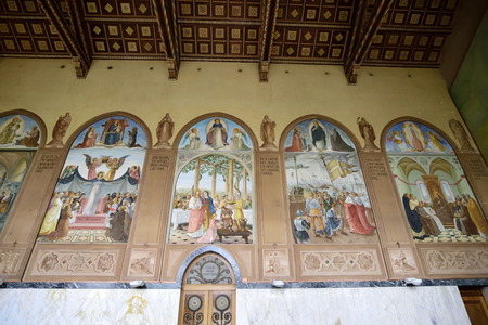 visitation: Inner decorations of Visitation Church in Ein Kerem, Israel