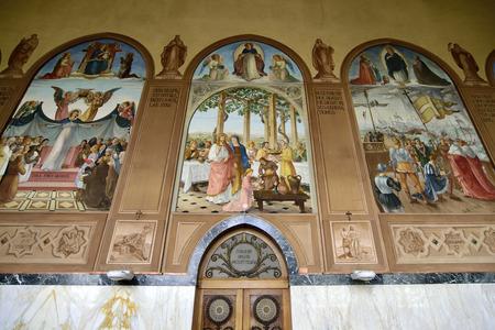 visitation: Inner decorations of Visitation Church in Ein Kerem near Jerusalem, Israel