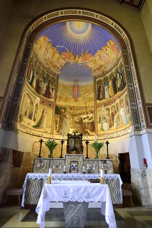 visitation: Sanctuary interior of Visitation Church in Ein Kerem near Jerusalem, Israel