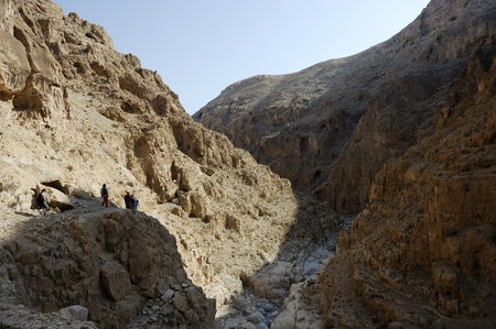 judea: Dry canyon of wadi Og in Judea desert, Israel Stock Photo