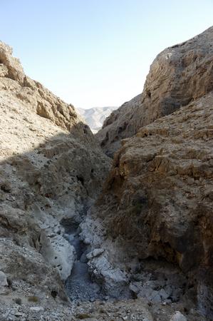 judea: Deep canyon of wadi Og in Judea desert, Israel Stock Photo