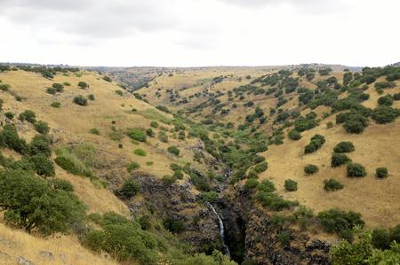 golan: Deep basalt gorge on Golan Heights plateau, Israel Stock Photo