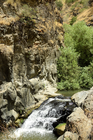 golan: Gorge landscape and stream rapid on Golan Heights.