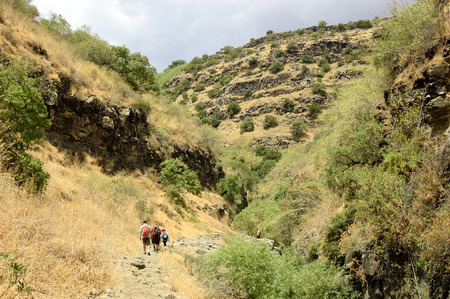 golan: Hikers in deep gorge on Golan Heights plateau.