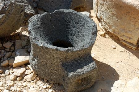 basalt: Basalt bowl in Mamshit National park in Negev desert, Israel.