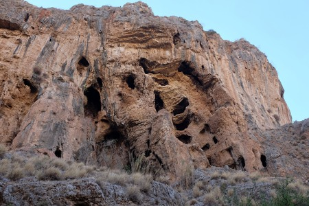 nahal: Prehistoric caverns in Nahal Amud National park, Israel.