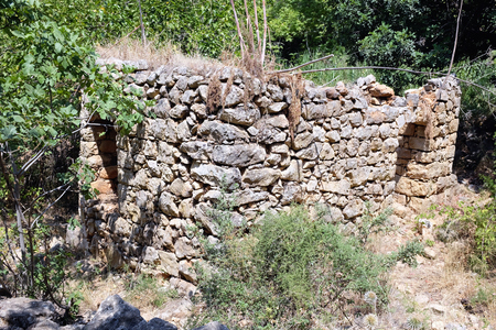 nahal: Ruined house in Nahal Amud National park, Upper Galilee in Israel. Stock Photo