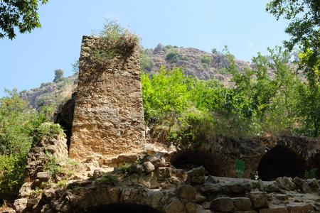 Ruined mill in Nahal Amud National park, Upper Galilee in Israel.